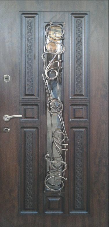Двері вуличні, модель 93 Преміум, ковка, склопакет, метал 2 мм, коробка 110 мм, 970*2050, MOTTURA, патина