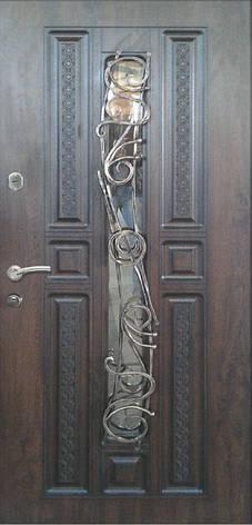 Двері вуличні, модель 93 Преміум, ковка, склопакет, метал 2 мм, коробка 110 мм, 970*2050, MOTTURA, патина, фото 2