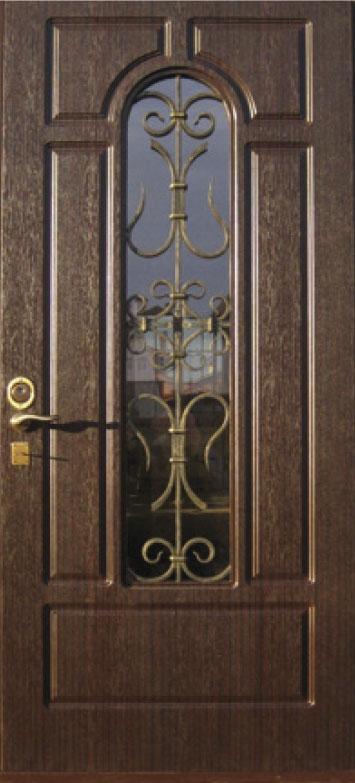Двери уличные, модель 95 PRESTIGE, 970*2050, коробка 110 мм, KALE, накладки 16 мм, ковка, стеклопакет