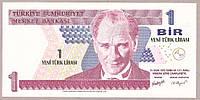 Банкнота Турции 1 лира 2005 г. UNC