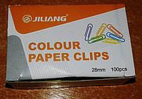 "Скрепка 28 мм. ""Jiliang"" цветная (100 шт.)"