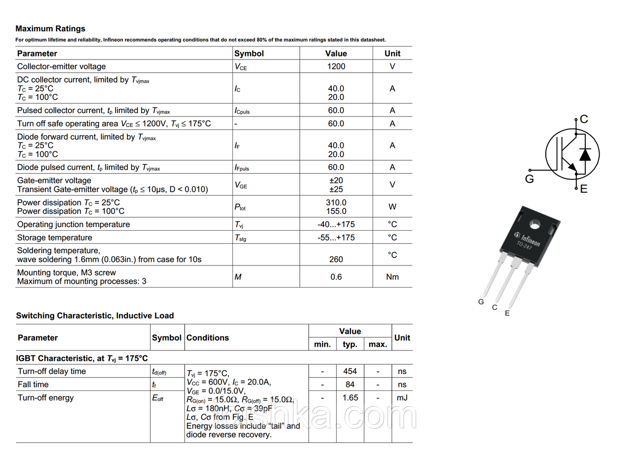 IHW20N120R3 / H20R1203 TO-247 - 1200V 20A NPT IGBT транзистор