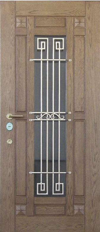 Двери уличные, модель 100 Премиум, 970*2050, коробка 110 мм, ковка,стеклопакет, влагостойкие накладки по 16 мм