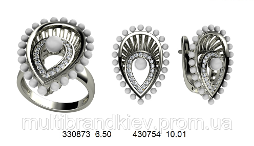 Золотой набор из белого золота серьги и кольцо с подвеской