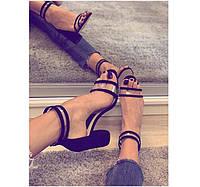 Босоножки женские на толстом каблуке кожа черные ZS0014