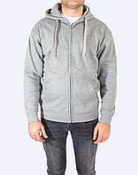 Толстовка серая на молнии с капюшоном мужская, худи, JHK (Испания) повседневная одежда, все размеры XS - XXL