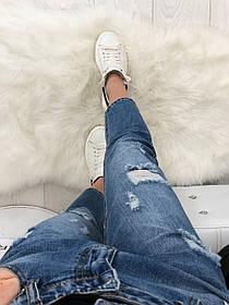 Мом с рванкой и царапками ( 8308 New jeans )