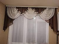 Ламбрекен для зала из шифона ALBO 200x100 cm Коричневый (LK2-6), фото 1