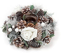 """Подсвечник """"Белая Роза"""" стеклянный с декором из шишек, ягод и цветов"""
