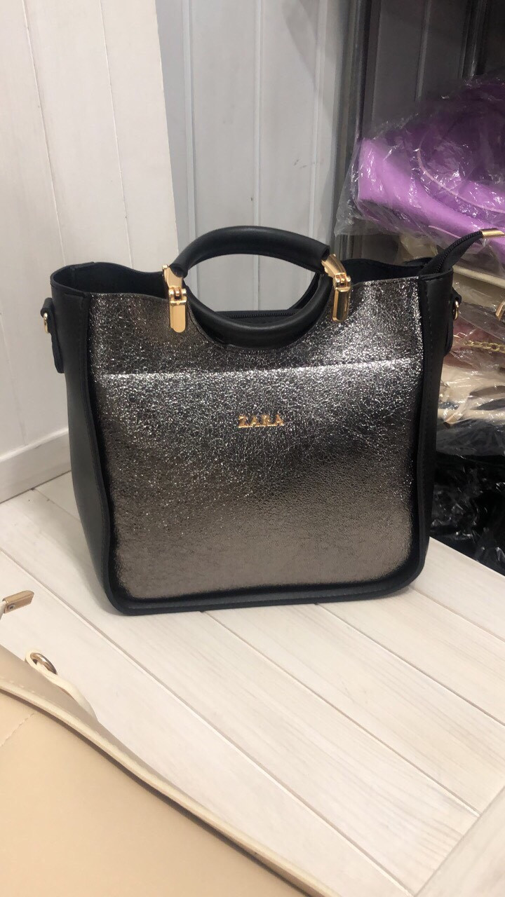 Сумка в стиле Zara цвет серебристо-черный экокожа