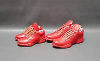 Детские кожаные кроссовки красные унисекс