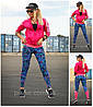 Спортивные лосины, леггинсы для фитнеса модель Молния с розовой вставкой!