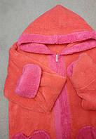 """Халат махровый женский """"Манго с розовыми вставками"""" на молнии, фото 1"""