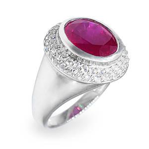 Кольцо серебряное с натуральным рубином размер 16.5