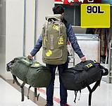 Рюкзак туристичний зелений великий Lijiebao 90 л., фото 3