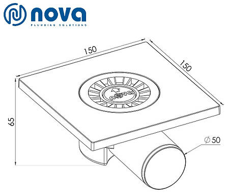 Трап сливной с пластиковый с боковым патрубком NOVA 5020 (150 мм х 150 мм), фото 2