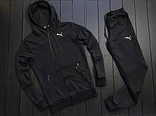 Мужской весенний спортивный костюм Puma (black), черный спортивный костюм Puma