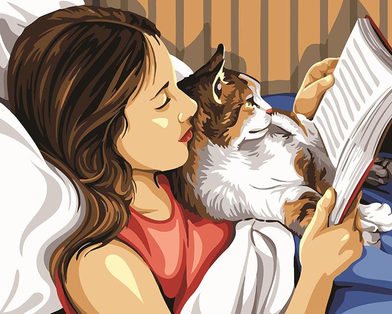 Картина по номерам Чтение с кошкой 40 х 50 см (BK-GX24166)