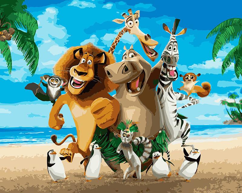 Картина по номерам Мадагаскар Веселая компания 40 х 50 см (BK-GX26274)