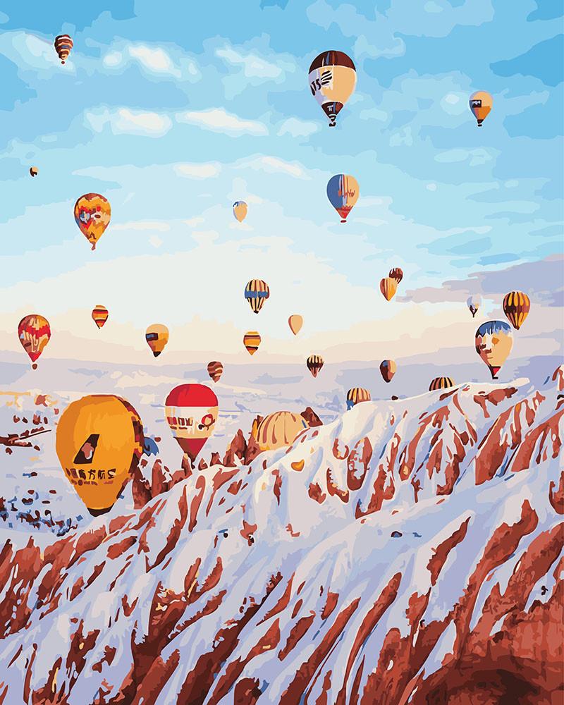 Картина по номерам Воздушные шары над зимними горами 40 х 50 см (BK-GX26236)
