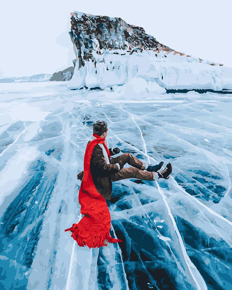 Картина по номерам Алый шарф Озеро Байкал 40 х 50 см (BRM26284)
