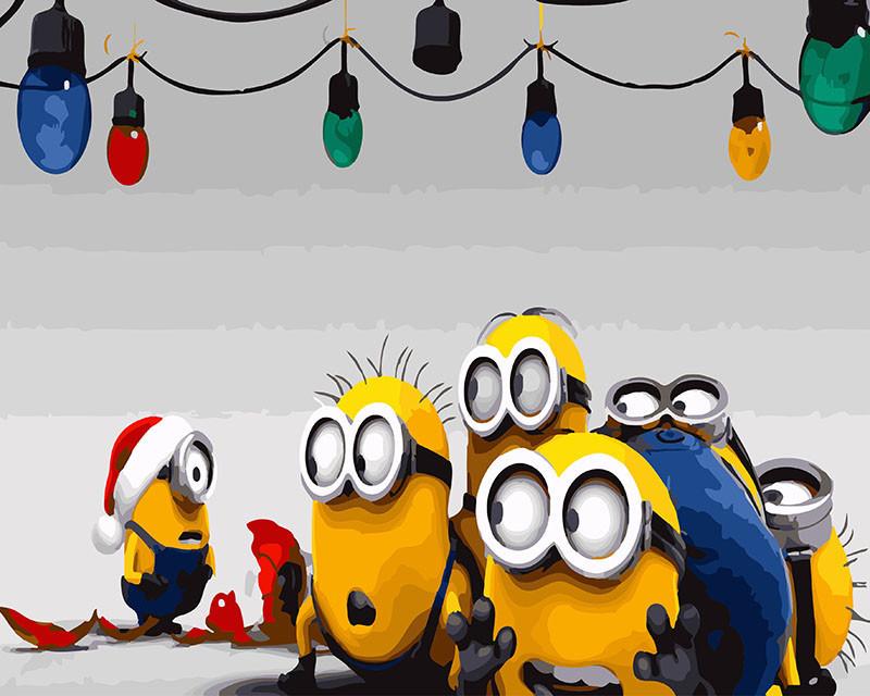 Картина по номерам Новогодние миньоны 40 х 50 см (BRM26272)