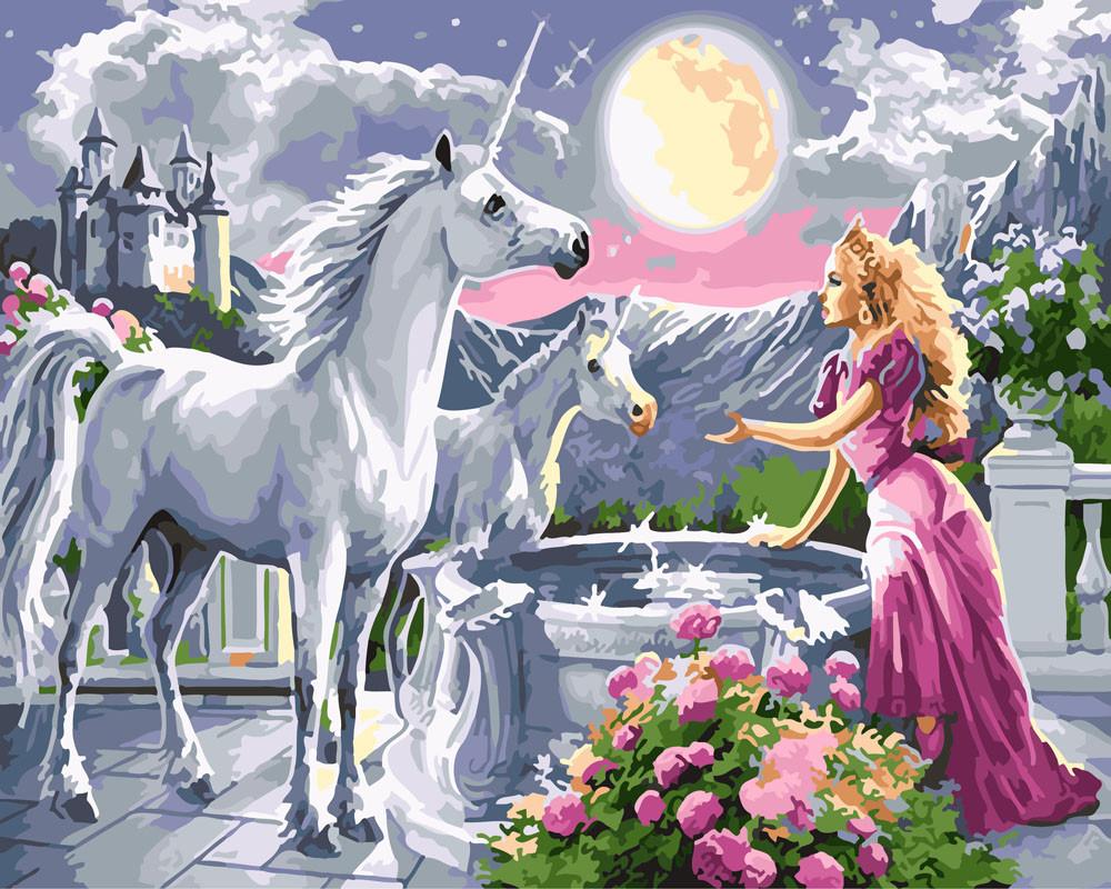 Картина по номерам Принцесса и единороги 40 х 50 см (BK-GX25996)
