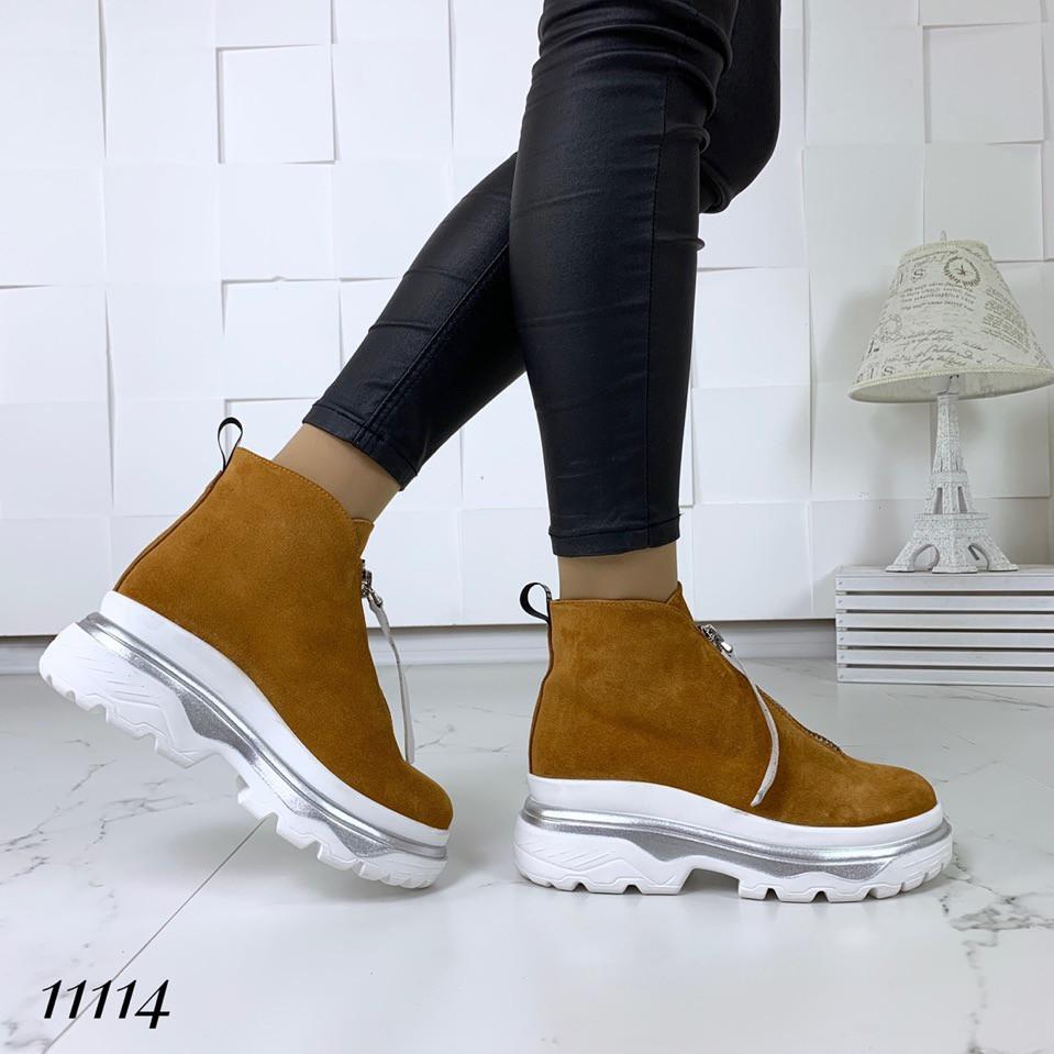 158e80275 Ботинки женские замшевые рыжие спортивные с молнией: продажа, цена в ...