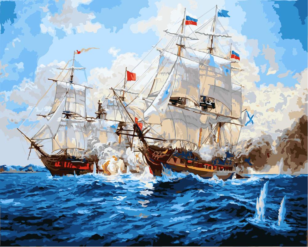 Картина по номерам Морской бой 40 х 50 см (BK-GX3457)
