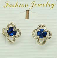 Классические сережки с синими камнями. 1646
