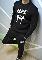 Мужской спортивный костюм, чоловічий костюм UFC (черный+белый лого), Реплика S