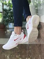 Женские весенние кроссовки в стиле Nike M2K Tekno (White/Red), Реплика ААА