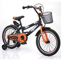 """Детский Велосипед с ручкой """"HAMMER-18"""" S600 Колёса 18''х2,4' Черно-оранжевый"""