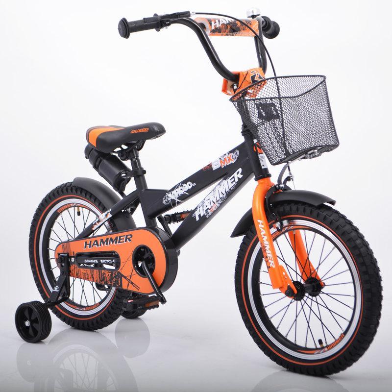 """Дитячий Велосипед з ручкою """"HAMMER-16"""" S600 Колеса 16""""х2,4' Чорно-помаранчевий"""