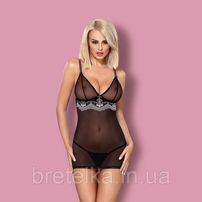 Облегающая прозрачная ночная сорочка черная  стринги в комплекте Obsessive 840
