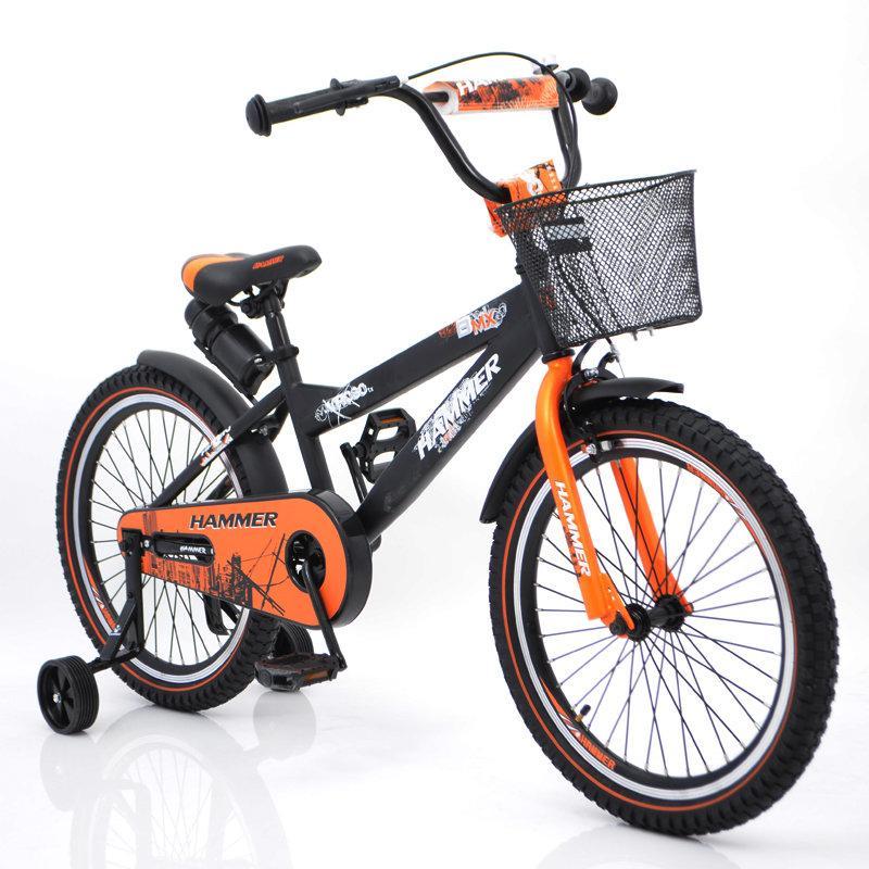 """Детский Велосипед с ручкой """"HAMMER-20"""" S600 Колёса 20''х2,4' Черно-оранжевый"""