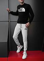Мужской спортивный костюм, чоловічий костюм The North Face (черный+серый), Реплика