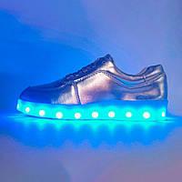 Детские светящиеся кроссовки Led низкие серебристые р.(34) 7d4c0d5b2a239