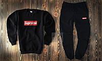 Мужской спортивный костюм, чоловічий костюм Supreme (черный+красный лого), Реплика