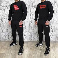 Мужской спортивный костюм, чоловічий костюм Supreme (черный+лого), Реплика