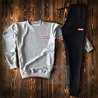 Мужской спортивный костюм, чоловічий костюм Supreme (серый+черный), Реплика