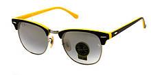Очки со стеклянными линзами Ray Ban клабмастер желтые дужки