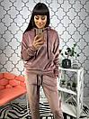 Бархатный женский спортивный костюм с худи 34so578, фото 3