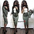 Юбочный женский костюм из замши с жакетом 9ks979, фото 2