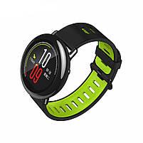 Amazfit Pace / Stratos / Stratos 2 Ремешок Black with green для смарт часов, ширина - 22 мм., фото 2