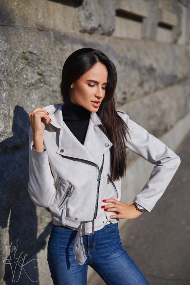 Замшевая куртка женская косуха 60ki190