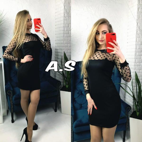 Приталенное платье с вставками сетки в горошек 52ty2394