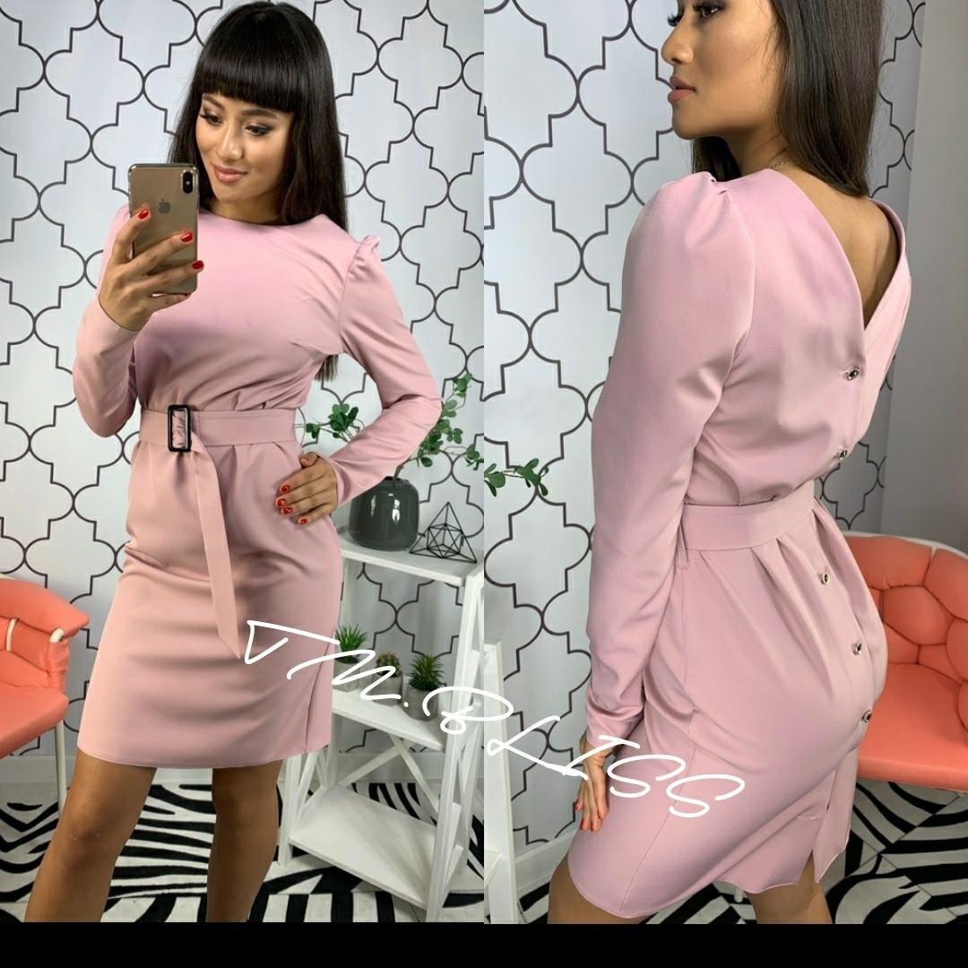 Приталенное платье с вырезом на спине и поясом 34ty2400