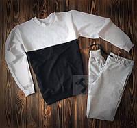 Чоловічий спортивний костюм без принта біло чорний з сірим комбо