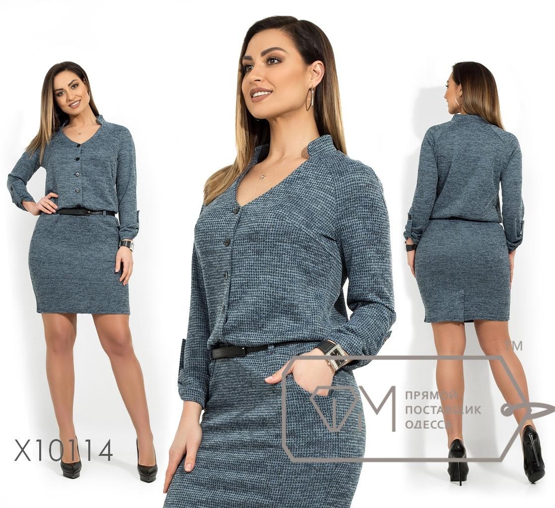 Платье в больших размерах с кулиской и рукавом 3/4 1uk1404